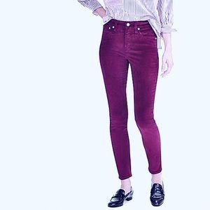 J Crew purple velvet stretch skinny jeans, size 32
